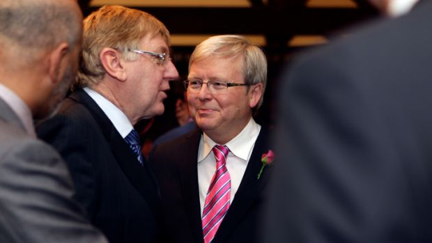 Rudd with cabinet supporter Martin Ferguson.