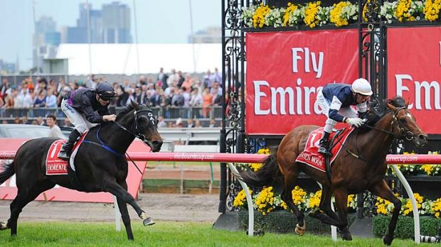 Fiorente runs a good second to the fast-finishing Green Moon.