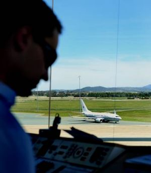 The air traffic control tower at Canberra Airport.