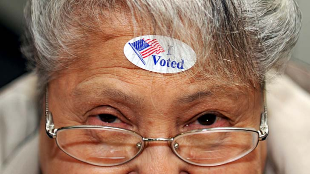 I voted ... Dora Winter of Nampa, Idaho, shows off her sticker after voting.
