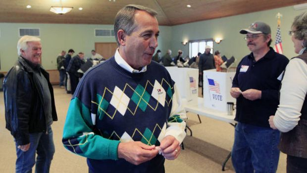 Comfort for Republicans ... House Speaker John Boehner  talks to poll workers after voting at Ronald Reagan Lodge in ...