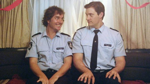 Toby Truslove (left) and Ed Kavalee as constables Red and Tommy in <i>Scumbus</i>, a pet project of Kavalee's for the ...