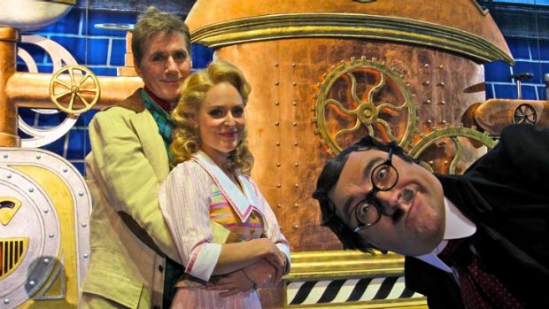 David Hobson and Rachael Beck with George Kapiniaris, right, star in <i>Chitty Chitty Bang Bang</i>.