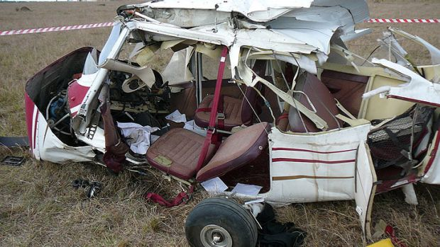 The wreckage of a plane that crashed at Beaudesert