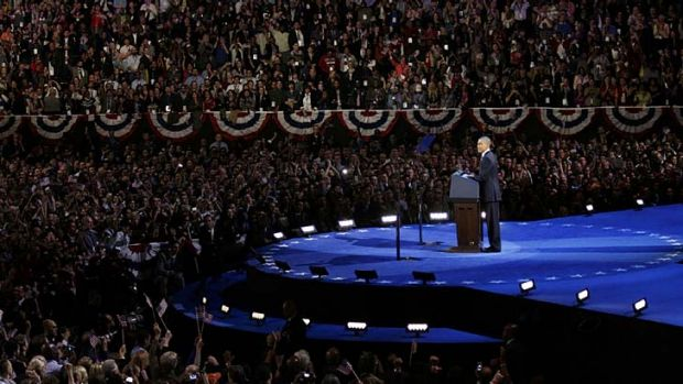 Triumphant ... US President Barack Obama delivers his victory speech.