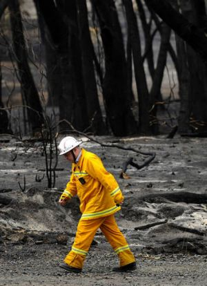 A CFA worker at Callignee during the 2009 Victorian bushfires.