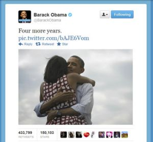 US President Barack Obama's first tweet after winning re-election.
