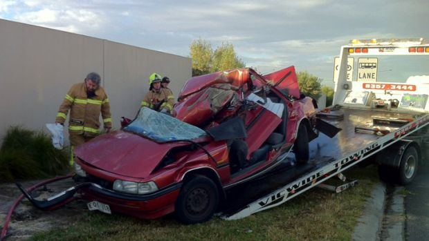Six young people were believed to have been inside the Toyota Camry when the driver lost control on Pascoe Vale Road in ...