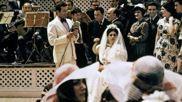 Mafia Bride ... Al Martino as Johnny Fontane sings to American actress Talia Shire playing the bride Constanzia in the ...