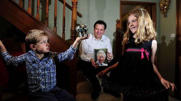 Garth Leggart with his children, Alexander, 4 and a half, and Ingrid, 7, are looking forward to seeing the Prince of ...