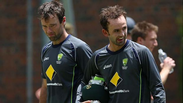 All to prove ... Rob Quiney, left, with Nathan Lyon during training at the Gabba this week.