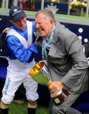 Horseplay ... Dear Demi's jockey and owner, Jimmy Cassidy and John Singleton, have some fun before posing for photos.