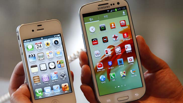 Streaking ahead ... Samsung's Galaxy S III, right, is more popular than Apple's iPhone, left, but it may be short-lived.