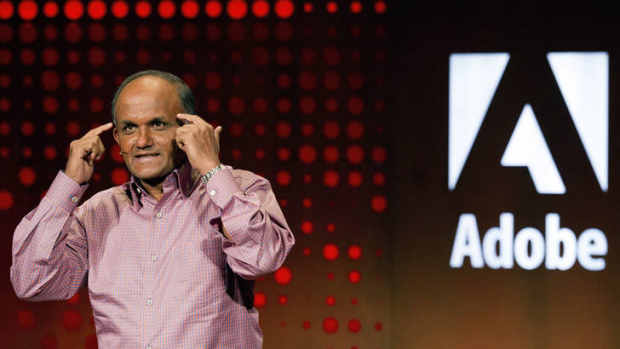Shantanu Narayen, president and CEO, Adobe Systems, speaks during the launch of Adobe Creative Cloud and CS6 in San ...