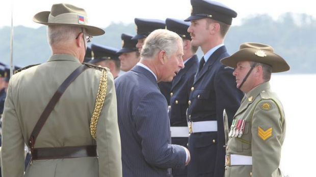 Prince Charles meets Defence Force personnel at Garden Island Wharf, Sydney.