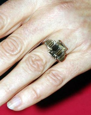 And in close-up: The Duchess of Cornwall's sizeable enagement ring.