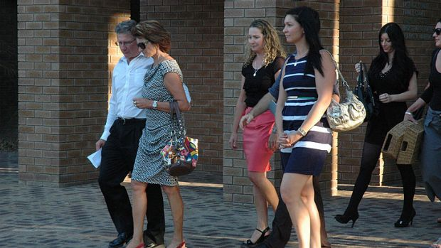 Trent Panizza's family, led by his parents (left), emerge from court after the verdict was handed down. <i>Photo: ...