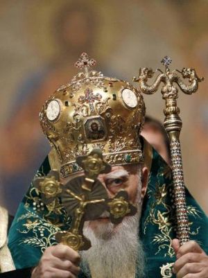 Bulgarian patriarch Maxim blesses the box containing bones, believed to be the relics of John the Baptist, at the ...
