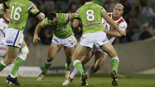 Josh Miller's famous hit on Dragons forward Michael Weyman while playing for the Raiders in 2009.