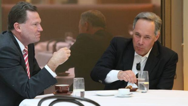 Witnesses ... former premiers Nathan Rees and Morris Iemma enjoy a coffee together, 2009.