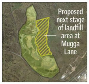An artist's rendering of the proposed next stage of landfill area at the Mugga Lane tip.