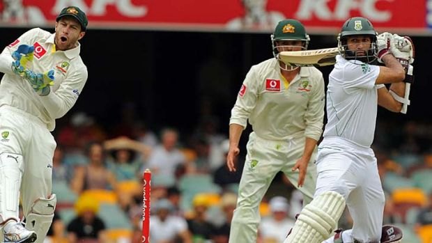 Composed knock ... Hashim Amla makes short work of the Australian attack during the opening day of the first Test at the ...