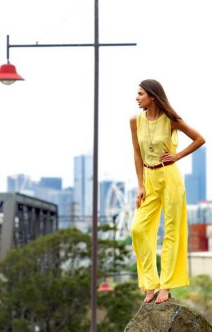 Shoona from Chadwick Models, in Footscray. Shoona wears Maurie & Eve Onyx split pant and loop top, both from Fame Agenda.