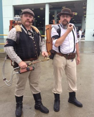 Martin and Scott as Steampunk Ghostbusters.