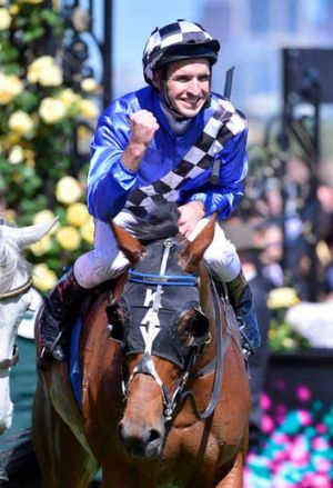Michael Rodd aboard Midnight Martini after winning the Matriarch Stakes