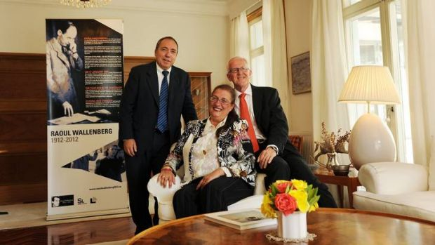 L-R: Israeli Ambassador Yuval Rotem with Hungary Ambassador Anna Siko and Swedish Ambassador Sven-Olof Petersson get ...