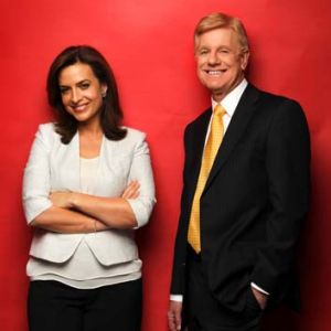 Ten's newsreading duo Helen Kapalos and Mal Walden.