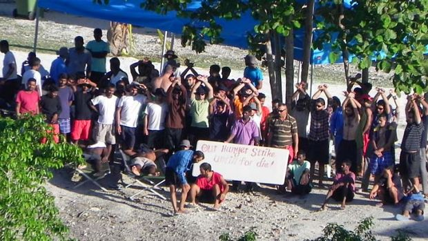 Hunger strikers protest at conditions on Nauru.