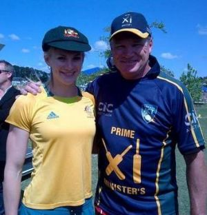 Canberra sprinter Melissa Breen with former Australian cricketer Dean Jones at a celebrity match at Crace in Canberra.