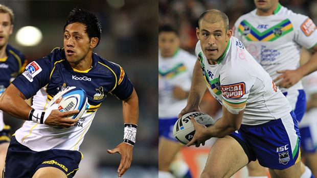 Raiders captain Terry Campese, right, would love to work more closely with Brumbies stars like Christian Lealiifano, left.