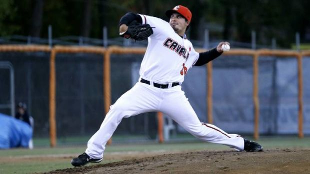 Canberra's Robert Dickmann pitched for five scoreless innings last night.