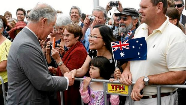 Charles, Prince of Wales greets Lee Anh with daughter Krystal Ahn Lobb, 5, and husband Aaron Lobb  at  the Australian ...