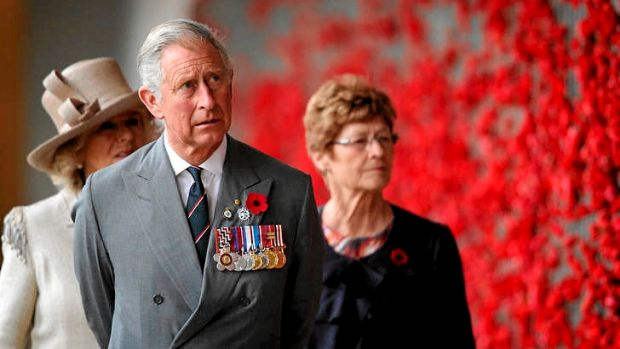 Charles, Prince of Wales and Camilla, Duchess of Cornwall visit the Australian War Memorial's wall of remembrance.