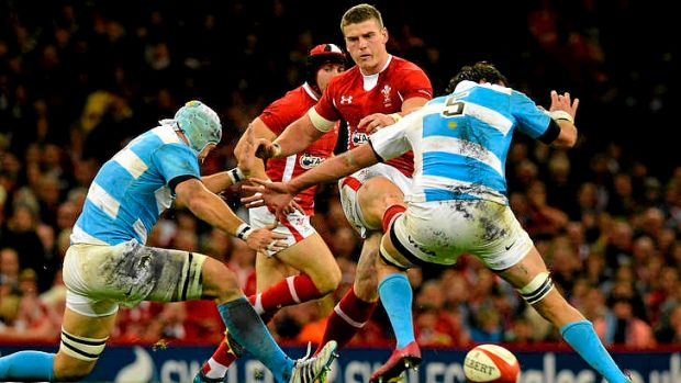 Wales' centre Scott Williams  puts through a grubber kick.