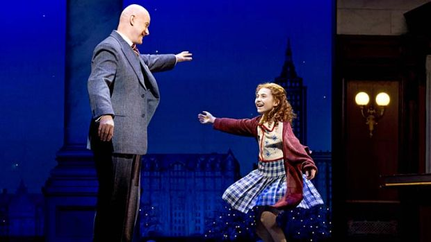 He's a hit … Anthony Warlow with Annie (Lilla Crawford) on Broadway.
