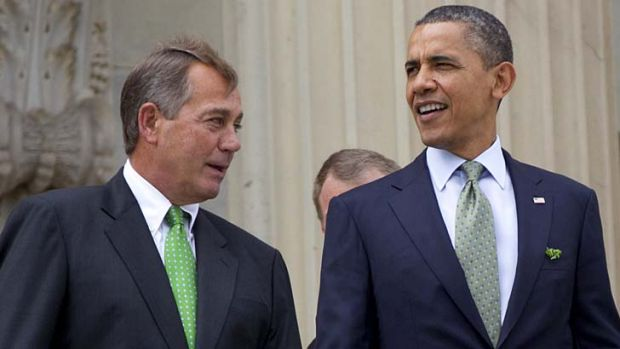 Welcoming Hispanic immigrants ... US President Barack Obama and House Speaker John Boehner.