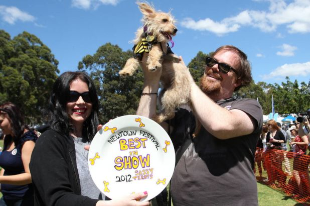 Best in show winner Monty with his proud owners, Lili Fielding and Paul Youdel.
