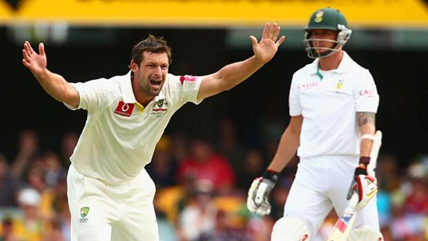 False hope ... Ben Hilfenhaus of Australia successfully appeals for the wicket of Dale Steyn only to have the decision ...