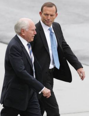 Putting his best Howard foot forward: Tony Abbott and former Prime Minister John Howard (left).