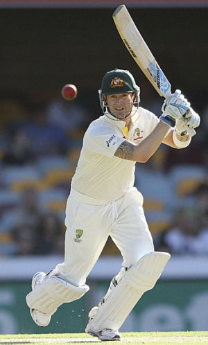 Michael Clarke gets among the runs against South Africa.