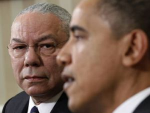 US President Barack Obama and former Secretary of State Colin Powell.