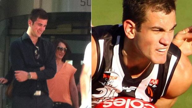 Luke Adams leaves court yesterday and (right) the once promising ruckman in his days playing for Swan Districts.
