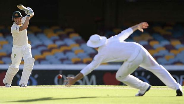 He's at it again … Australian skipper Michael Clarke smashes a shot past his South African counterpart Graeme Smith.