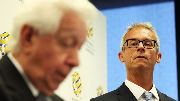 I'm the man: Frank Lowy announces the appointment of David Gallop as Football Federation Australia chief executive.