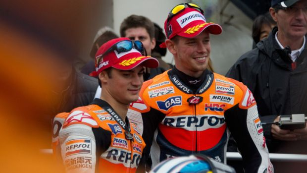 Valencia Grand Prix winner Dani Pedrosa with Casey Stoner after Sunday's race.