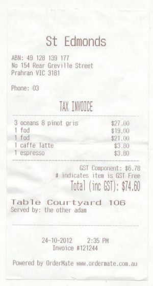 The bill ... for lunch with Lucy Feagins at St Edmonds.